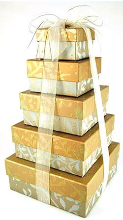 This golden gift tower makes a beautiful anniversary gift.  It could also be sent for a 50th anniversary (gold). Gift includes assorted Sanders chocolates, a large tin of old fashioned sugar dusted cherry candy drops, gourmet snack mix, chocolate chip cookies, cashew brittle and Walker's shortbread.