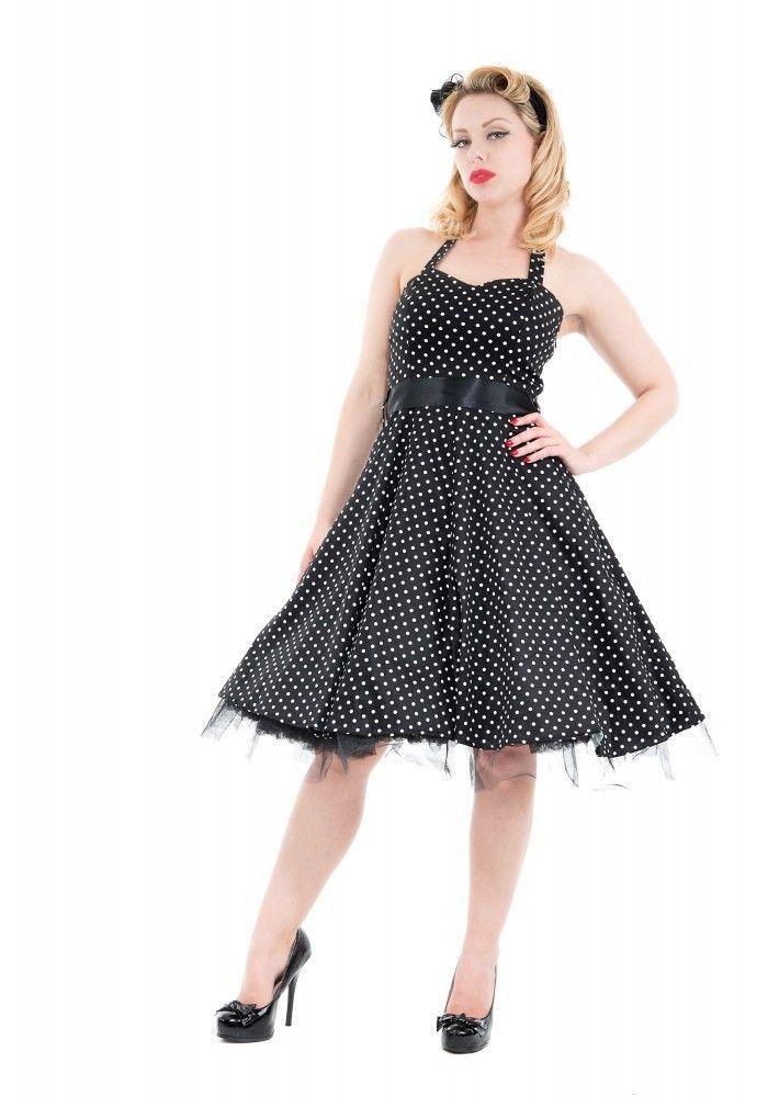 H & R London BLACK White small Polka dot 50's Halter Dress pinup Vintage 0211-09 #HRLondonHeartsandRosesDress #partyvintagestylevtgpinuprockabillyretro #Casual