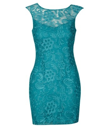 Vestido recto azul turquesa de encaje