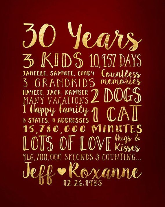 30 Year Anniversary Gift Gift For Parents Anniversary Kids Etsy Parents Anniversary 30 Year Anniversary Gift 30th Wedding Anniversary