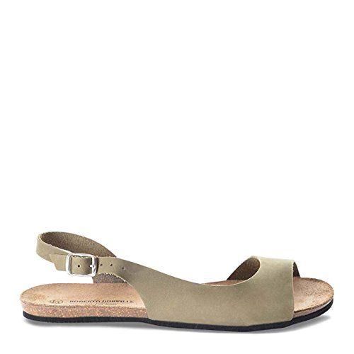 Roberto Durville Paris  Dano Womens Khaki Leather Flat Sandals 39 M EU >>> See this great product.