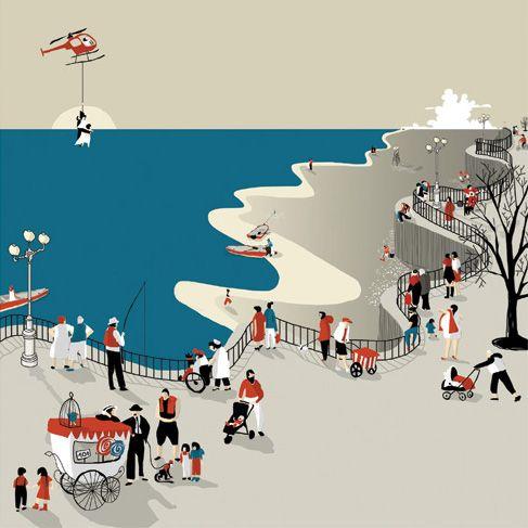Atardeciendo en la playa. Ilustraciones seleccionadas para la feria de bolonia 2014