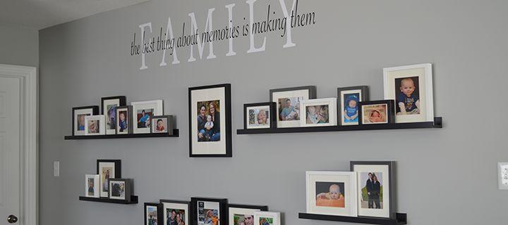 Family photo wall, family decal, ikea photo ledges, ribba ledges, gallery