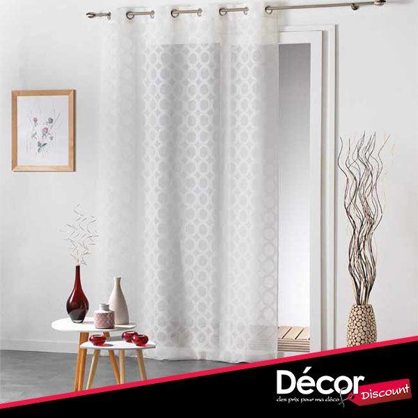 rideau blanc voile sable motifs ronds