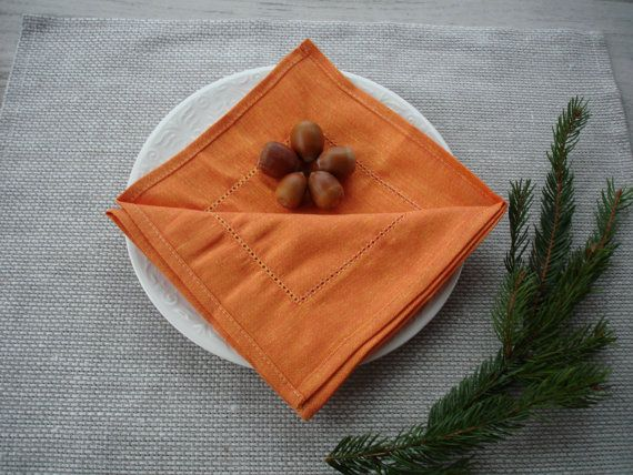 WARM ORANGE hemstitched semi linen napkin set of 6. Plain woven, soft and elegant cloth napkins for wedding, dinner or any other occasion. Easy care: