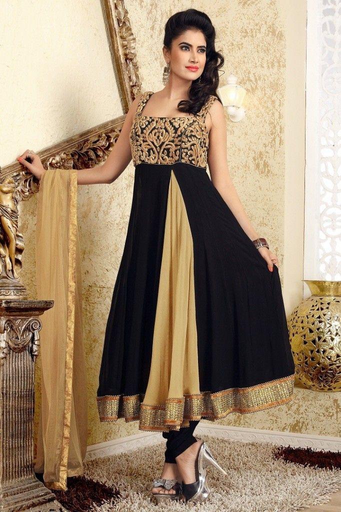 Indian Anarkali Black Color Party Wear Dresses For Girls 2015