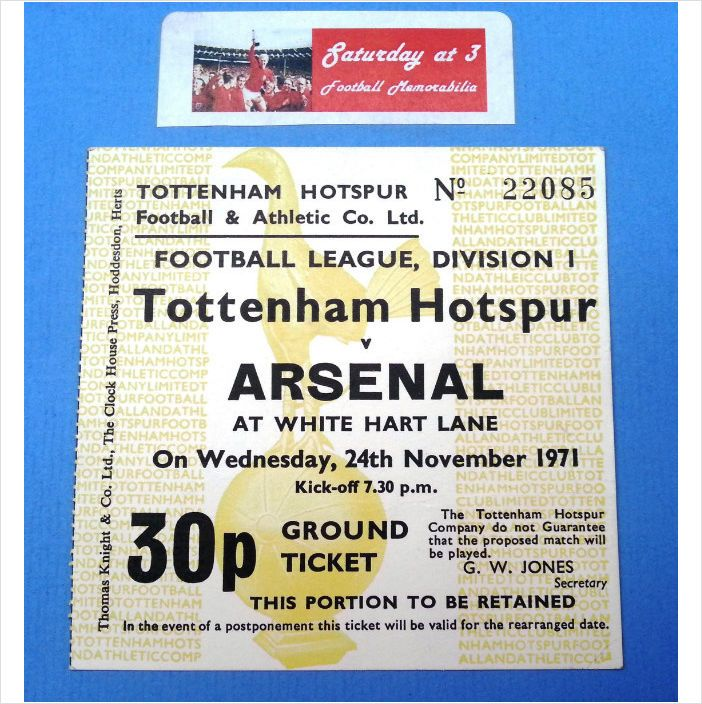 Tottenham Hotspur v Arsenal Football Ticket Stub 24/11/1971 League Division 1