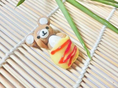 #bgclaycharm Japanese food and dessert mini model #sweetsdeco kawaii #Rilakuma omelet