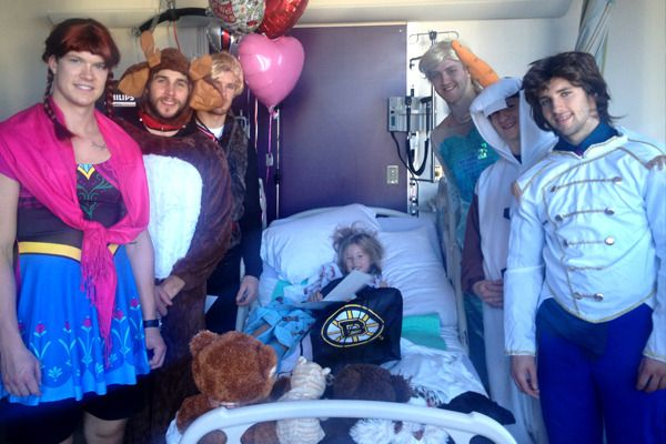 Boston Bruins players go on a hospital visit dressed as the cast of Frozen (Oct 27, 2014). Kevan Miller as Kristoff, Matt Fraser as Anna, Matt Bartkowski as Sven the Reindeer, Seth Griffith as Hans, Torey Krug as Olaf the Snowman and Dougie Hamilton as Elsa.