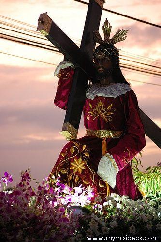 The Black Nazarene. In Filipino it is known as Mahal na Itim na Nazareno.