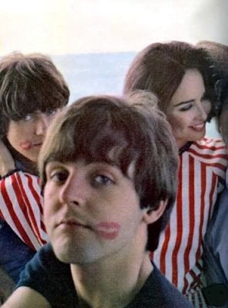 Lipstick kisses for Paul and George