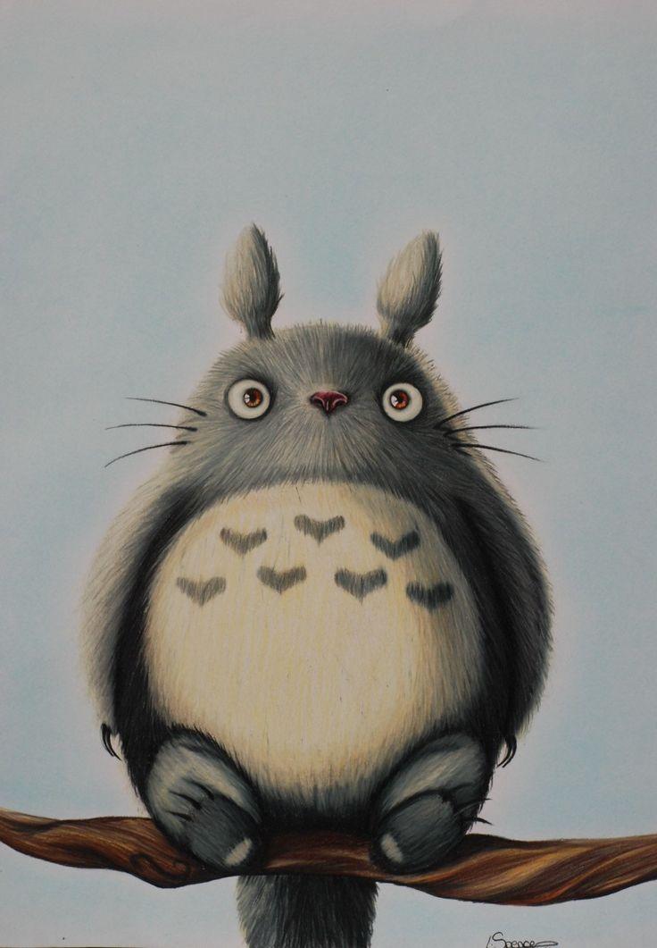 * Realista Estudio Ghibli mi vecino Totoro Art Print *  Esta es mi versión personal de Totoro, un divertido personaje furry de la clásica película de Ghibli mi vecino Totoro.  Las impresiones miden aprox: 13 X 11 pulgadas  Para ver más de mi trabajo, encontrarme en: www.facebook.com/PaintedPainter Instagram: @paintedpainter