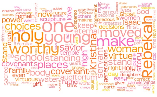 """Word cloud of Elaine Dalton's 2013 General Young Women Meeting talk, """"Be Not Moved!"""""""