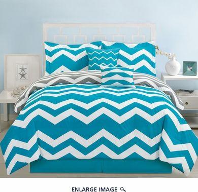 6 Piece Queen Chevron Teal Comforter Set