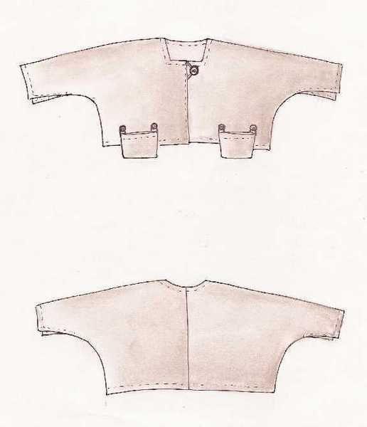 Ein kurzes Jäckchen, sehr weit geschnitten, mit zwei losen Taschen in Saumhöhe, rechteckigem Ausschnitt und einem Knopf zum Schließen. An den Ärme...