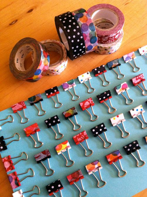 Washi tape to decorate clips | Brandy: You could color-code of pattern-code your drawings, sketchbooks, Stacks with washi tape.