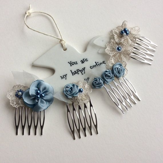Blue fabric flowers hair combs for brides or bridesmaids. Wedding hair accessories in blue Something Blue bridal hair