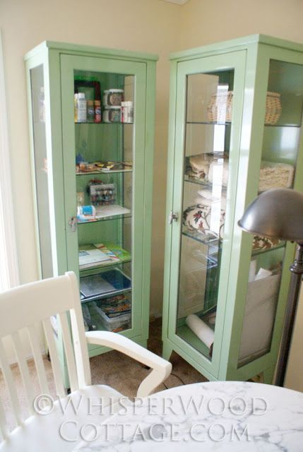 WhisperWood Cottage: Start of the Office/Studio Makeover: Pair of Vintage Medical Cabinets