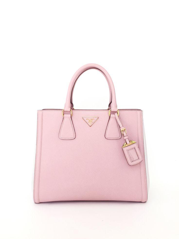 PRADA Bicolor Lux Saffiano Pink Leather Small Tote Bag