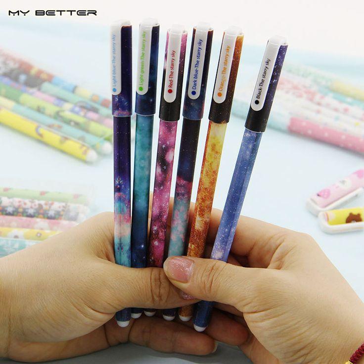 6 Sztuk/zestaw Color Gel Pen Starry Wzór Ładny Kotek Bohater Pióro Kulkowe…