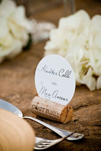 cork place cards. could also be used on the food/beverage tables to hold menu cards and/or description tags.