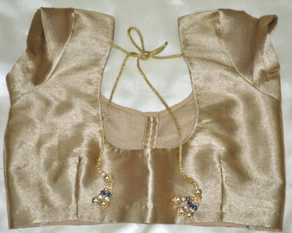 Golden Zari PreStitched Blouse  Designer Blouse by LaxmiFashions