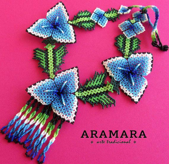 Abalorios de joyería mexicana collar de Huichol por Aramara