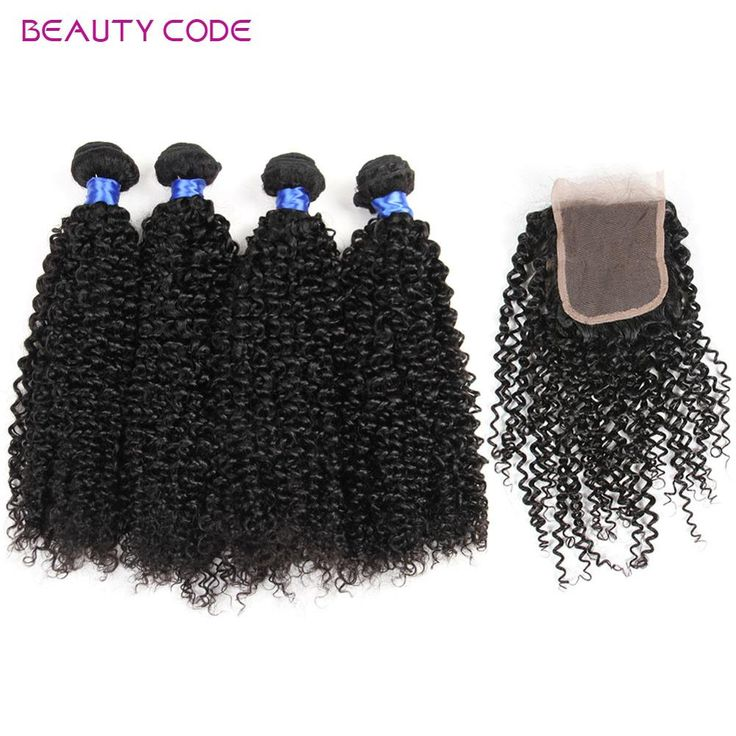 Beauty Code Cheap Peruvian Virgin Kinky Curly Hair With 4x4 Lace Closure Unprocessed 8A Peruvian Curly Human Hair With Closure