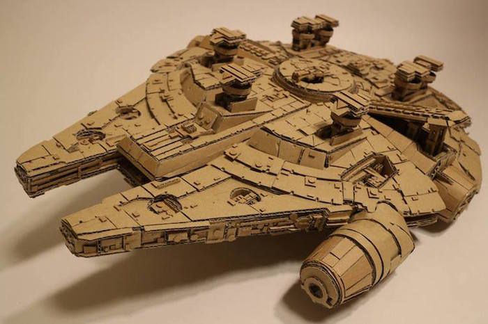 Intricate cardboard sculptures made from old Amazon boxes by Monami Ohno