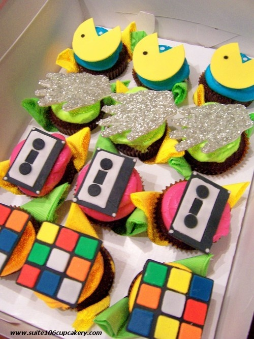 awesome 80's party cupcakes. This makes me want to throw an 80's theme party!!