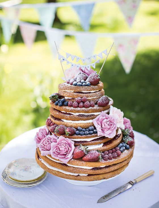 Ever thought about a 'naked' wedding cake? We love this one from Sainsburys magazine.