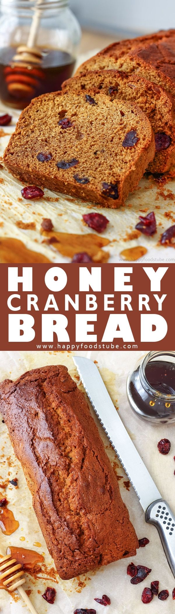 This honey cranberry bread is a delicious quick bread. Made from scratch, with a 10 minute preparation it is the perfect loaf for busy families. Homemade honey bread with cranberries. #quickbread #bread #loaf #baking via @happyfoodstube