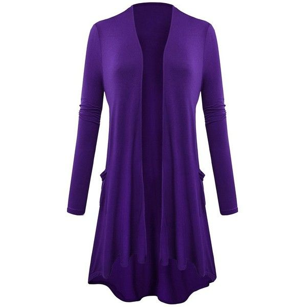Long Cardigan with Pocket Long Sleeves for Women X-Large Deep Purple... ($14) ❤ liked on Polyvore featuring tops, cardigans, purple long sleeve top, long cardigan, long purple cardigan, pocket cardigan and long sleeve tops
