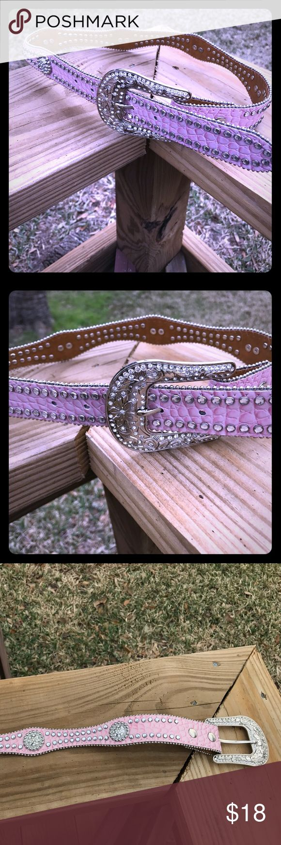 "Pink western bling belt sz small 24/26 Pink western bling belt. Size small. Has 26 inside it, but might fit 24-26. Overall length is ."" In good condition, but missing the loop on it, but it could be tucked into a jean loop. Accessories Belts"