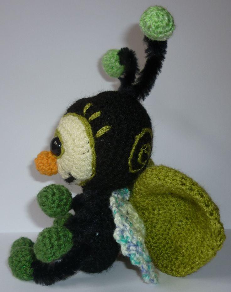Zöld bogár, horgolt