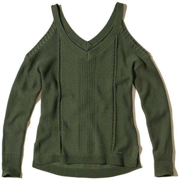 Hollister V-Neck Cold Shoulder Sweater (130 PEN) ❤ liked on Polyvore featuring tops, sweaters, olive, olive sweater, cut out shoulder top, olive green sweater, green top and olive green top