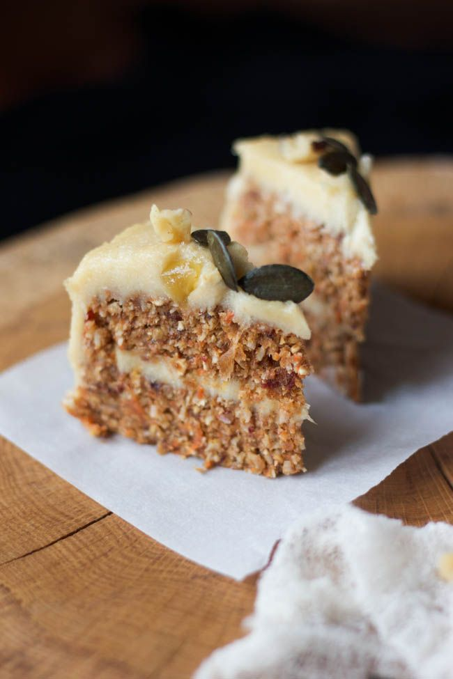 Raw Carrot Cake with Cashew Lemon Cream | Wholehearted Eats