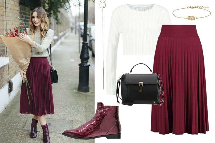 ootdmagazine.com, plisowana spódnica, biały sweter, burgundowe botki