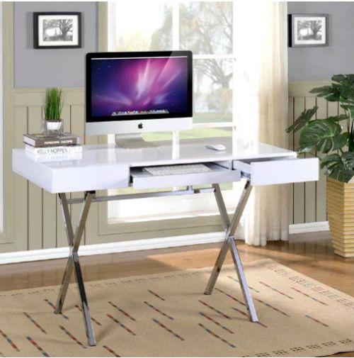 White High Gloss Student Desk Modern Office Furniture Workstation Storage Drawer #Unbranded
