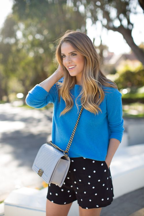 Polka Dot Shorts transition to fall weather when you add a colorful sweater.