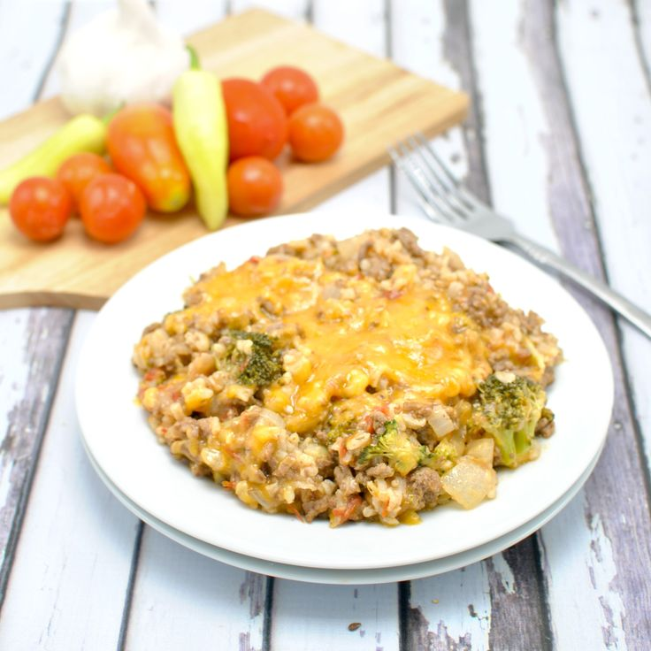 Cheesy Burger Skillet with Fresh Tomatoes, Broccoli and Rice