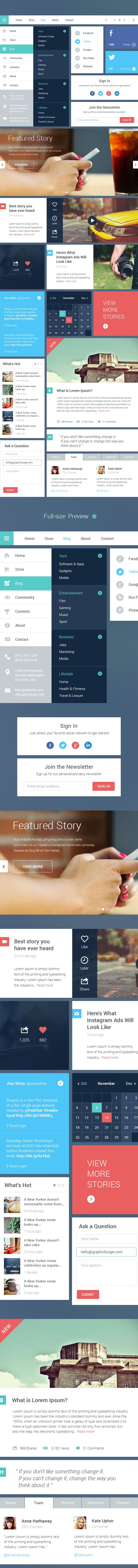 Blog/Magazine UI Kit #2 by GraphicBurger , via Behance