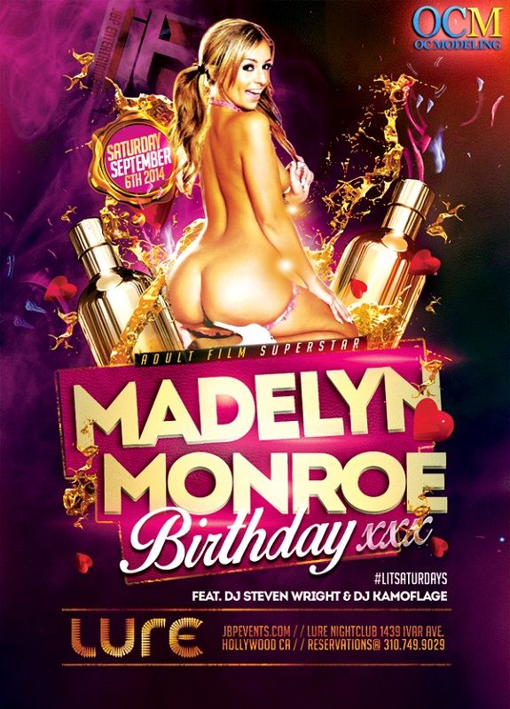 Madelyn Monroe hosts Lure Nightclub this Saturday, September 6, 2014. Join Lure Nightclub Saturday to celebrate the birthday of adult film superstar MADELYN MONROE along with OC MODELING.  Expect a slam packed, super sexy party this Saturday, featuring music by deejay STEVEN WRIGHT opening set by deejay KAMOFLAGE, at LIT Saturdays inside LURE Nightclub at 1439 Ivar Ave in Hollywood. To RSVP for the event, contact (310) 749-9029, or at www.bottlemenuservice.com