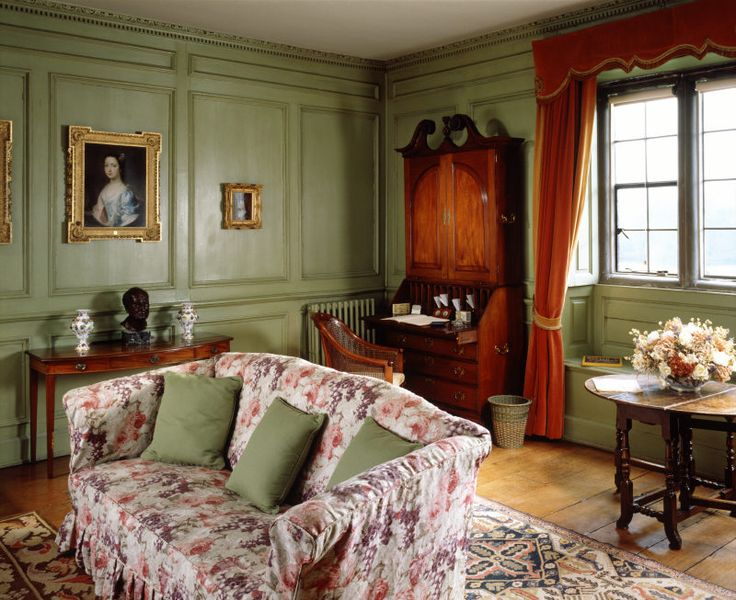 Lady Vernon's Sitting Room decorated in cool green sage, redolent of the 1930s at Sudbury Hall, Derbyshire