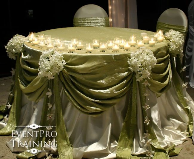 This blog has several different ideas for decorating a sweetheart table or a head table at your wedding reception. Some linens just take 60 seconds to put on! Tips on how they were completed! Great blog if your trying to get ideas on what you want for the head or sweetheart table! - Event Pro Training