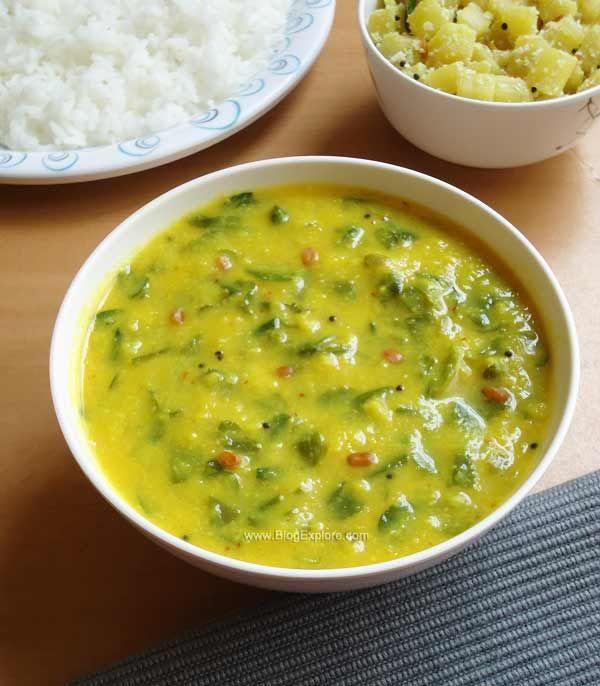 Murungai Keerai Poricha Kuzhambu / drumstick leaves kootu recipe - easy South Indian drumstick leaves gravy with lentils recipe step by step.
