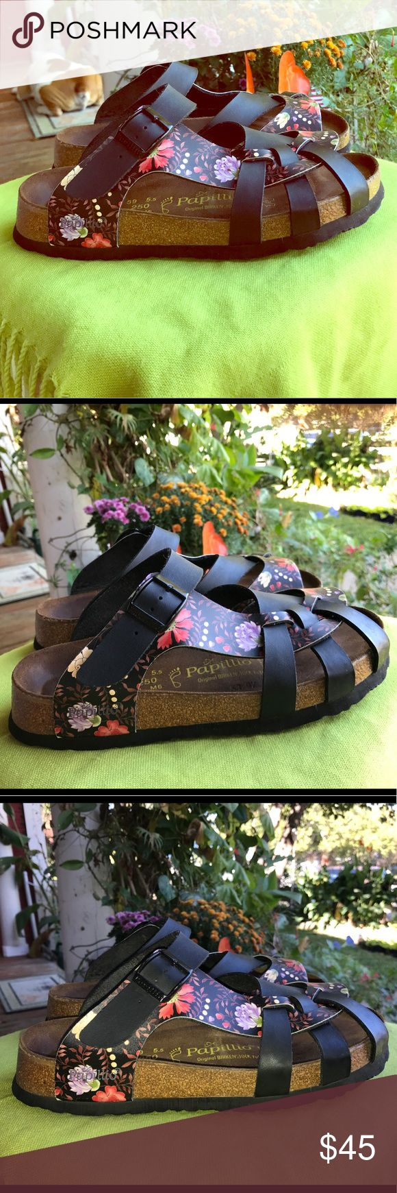 Papillio by Birkenstock floral sandals Great used condition with some scuffs on the floral design on the inner shoe by big toes. Other than that, they are EUC maybe worn a couple times. The scuffing could be expected as they become the distressed look with more wear? They are definitely unique and not broken in. I just wiped them with leather cleaner so the foot beds look much darker than before cleaning, yet sanitary. Birkenstock Shoes Sandals