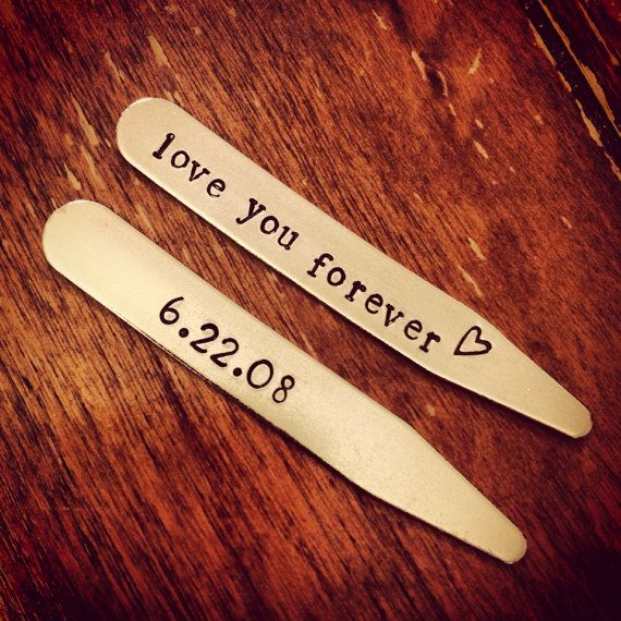 Men's Collar Stays - Special Date Collar Stays - Love You Forever - Gift for Groom from the Bride