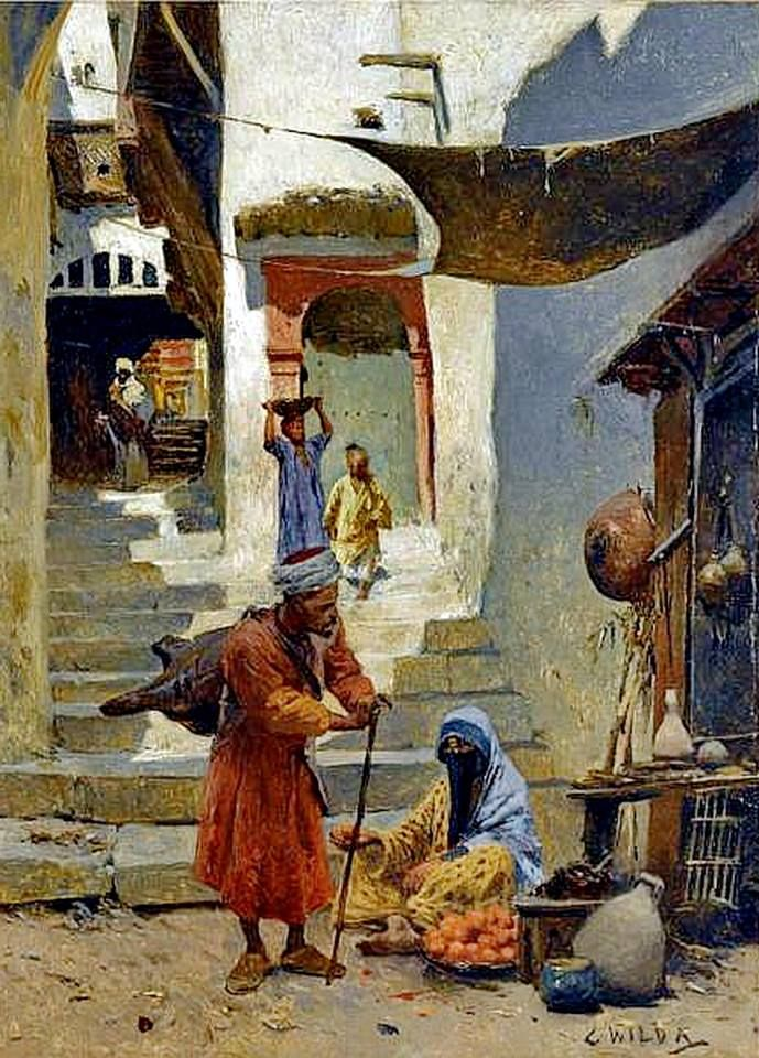The Water Carriers & Orange seller , Cairo By Charles Wilda - Austrian, 1854-1907 Oil on canvas , 21 by 15.2cm