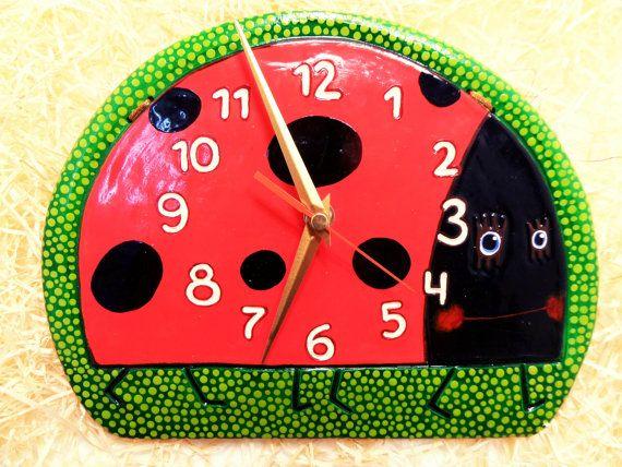Wall Kids Clock Ladybug Ceramic Clock Toy Housewarming Gift